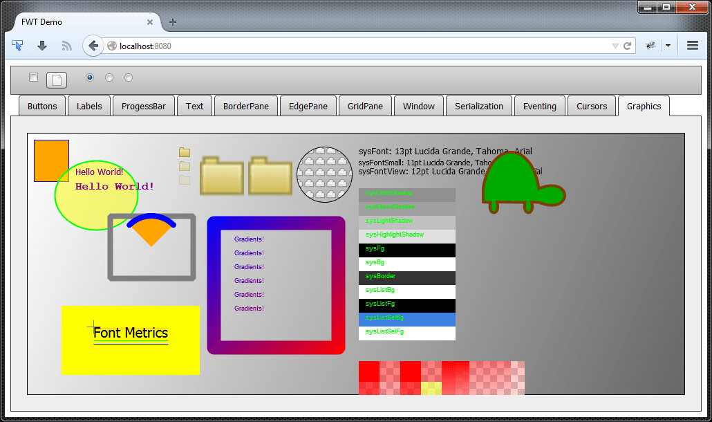 An FWT GUI running in a Web Browser